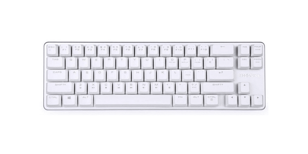 A top-down view of the Qisan Magicforce 68, the best budget mechanical 65 keyboard
