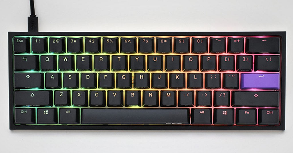 Top profile view of Ducky One 2 mini sf, the best budget small gaming keyboard on the market