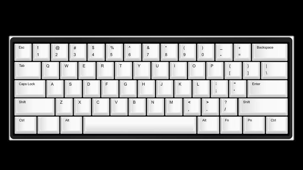 Stock White 60 mechanical keyboard