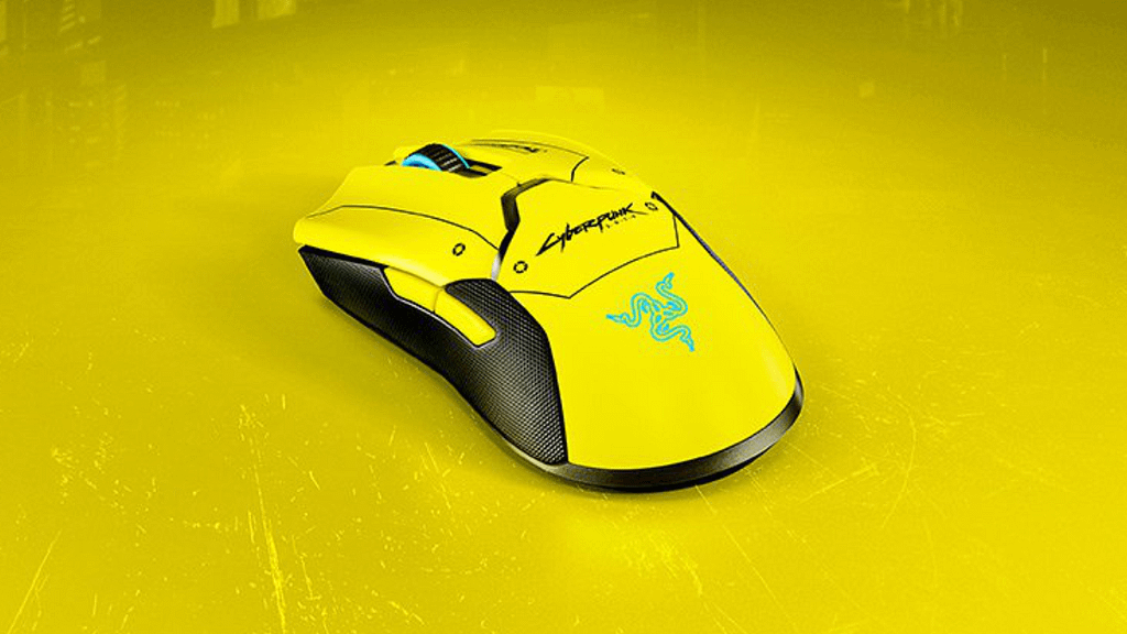 Limited edition cyberpunk2077 wireless gaming mouse from Razer in bright yellow and black