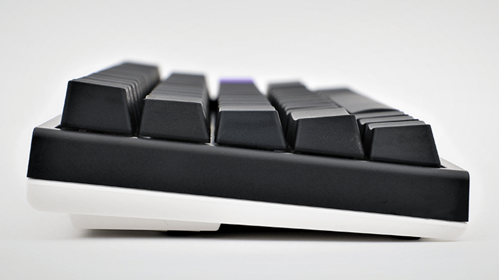 Side Profile of the Ducky One 2 SF with black and white case