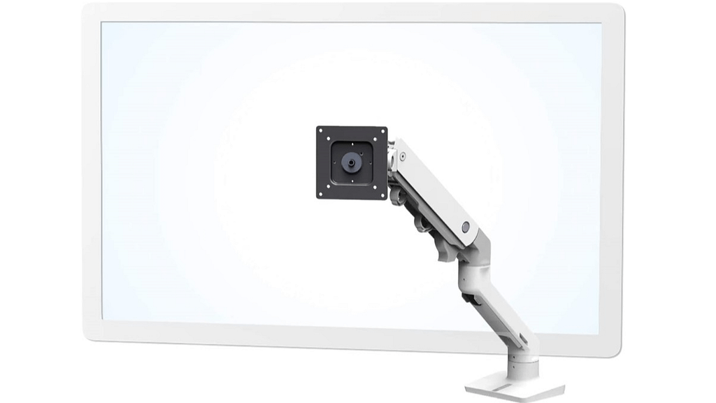 A heavy duty white and grey articulating monitor arm - the Ergotron HX Desk Monitor Arm