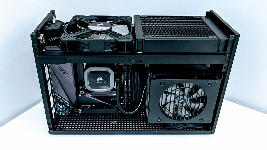 Angled side view of Formd T1 showing 120mm cooling radiator and exhaust fan