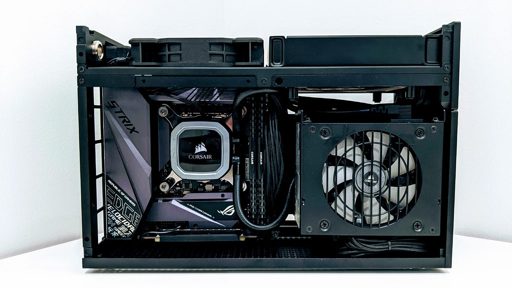 Front on view of the Formd T1 inverted with AIO cooler installed and 120x25mm exhaust fan