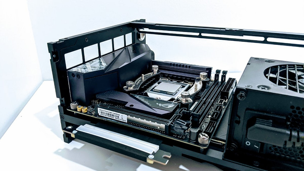 Side profile showing CPU in Formd T1 build with pci e riser cable not connected