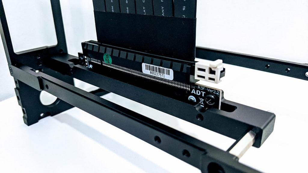 Close up of Motherboard bracket and Riser strut bracket in Formd T1 case