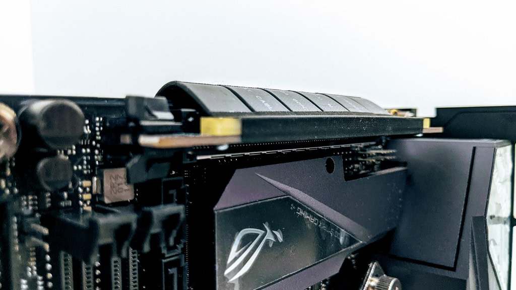 Close up view of installed Riser Cable in Formd T1 build without top or side panels