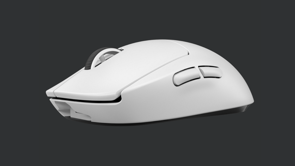 The Logitech G Pro X Wireless lightweight mouse viewed from the corner showing the side buttons