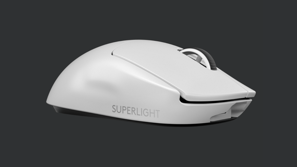 Angled view of the while ultra light G Pro X mouse with left and right main buttons