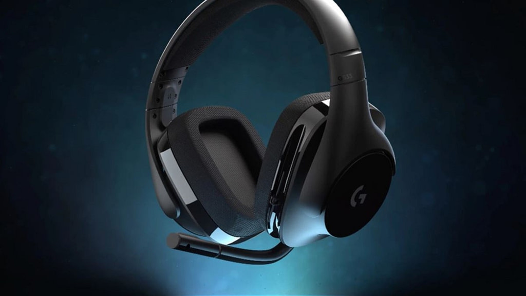 G533 wireless headset with microphone extended against a mottled blue background with strong vignetting