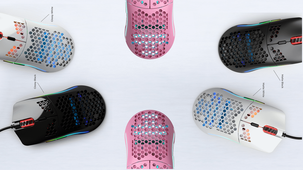 Glorious full spectrum of model o gaming mice arranged in a outward circle
