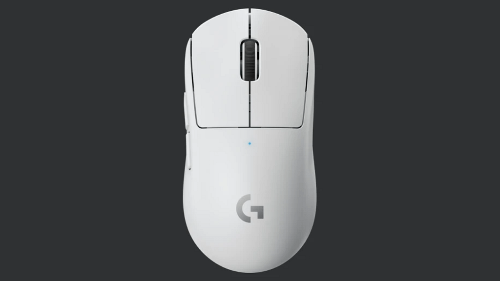 A white G Pro X Ultralight viewed from above against a dark background - The PC Gaming Race Mouse King