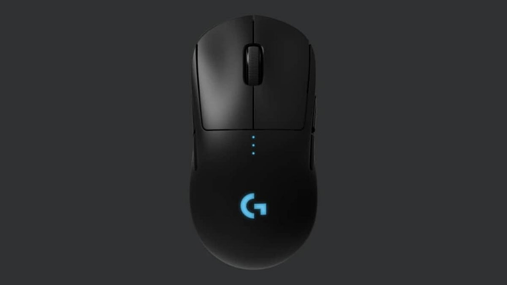 The Logitech G Pro Wireless Mouse on a grey background - Our best light gaming mouse pick