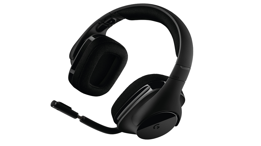 A slightly rotated black Logitech G533; the best 7.1 virtual surround sound gaming headset.
