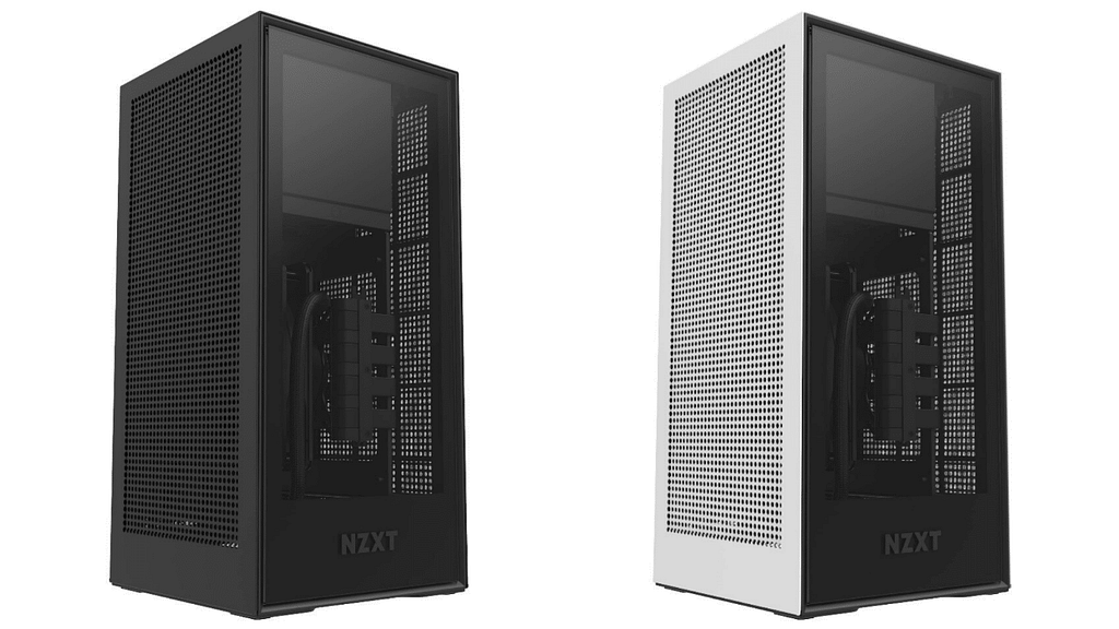 The NZXT H1 SFF PC cases in black and white