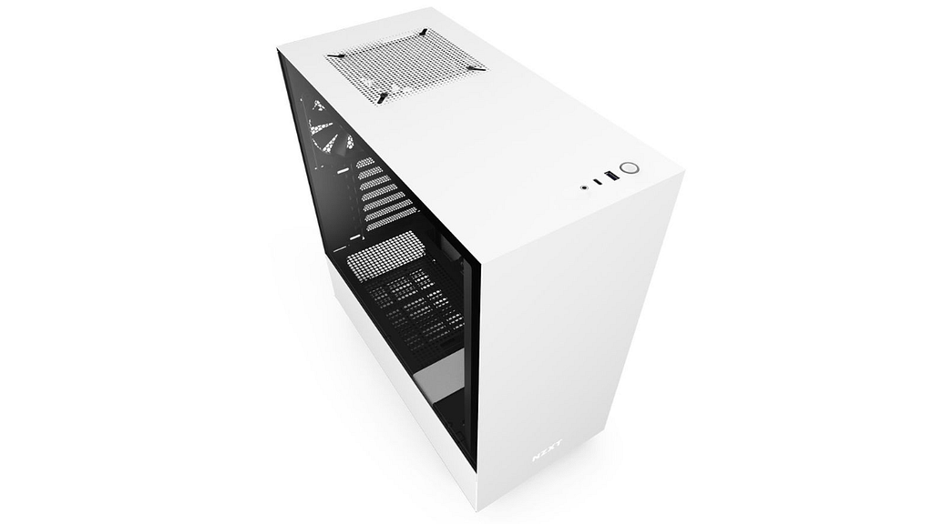 An angled photo of an empty white NZXT H510 mid-tower computer case with tempered glass side