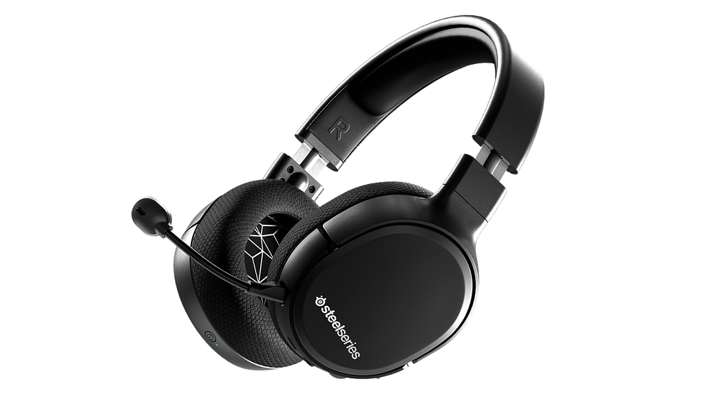 A black Arctis 1 against a white background, steelseries budget wireless gaming headset.