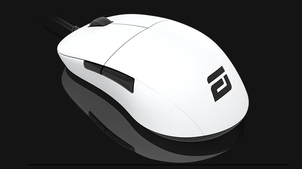 Angled left white gaming mouse, the Endgame XM1 on gloss black surface
