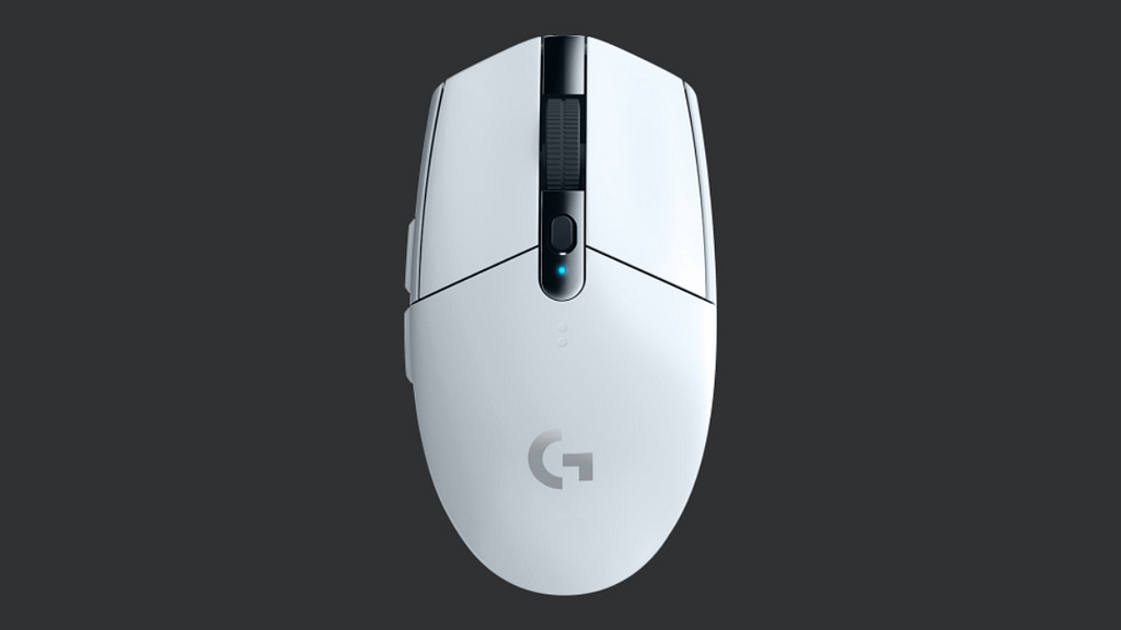 A top down view of a white Logitech G305 centered against a dark grey background
