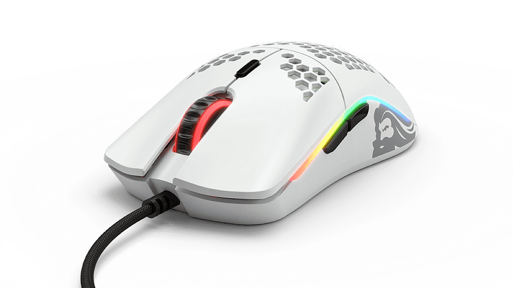 White Matt glorious model O with black thumb buttons and RGB lighting