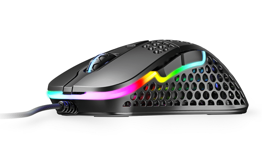 Side profile of XTRFY M4 gaming mouse illuminated by RGB lights resting on top of black mouse feet