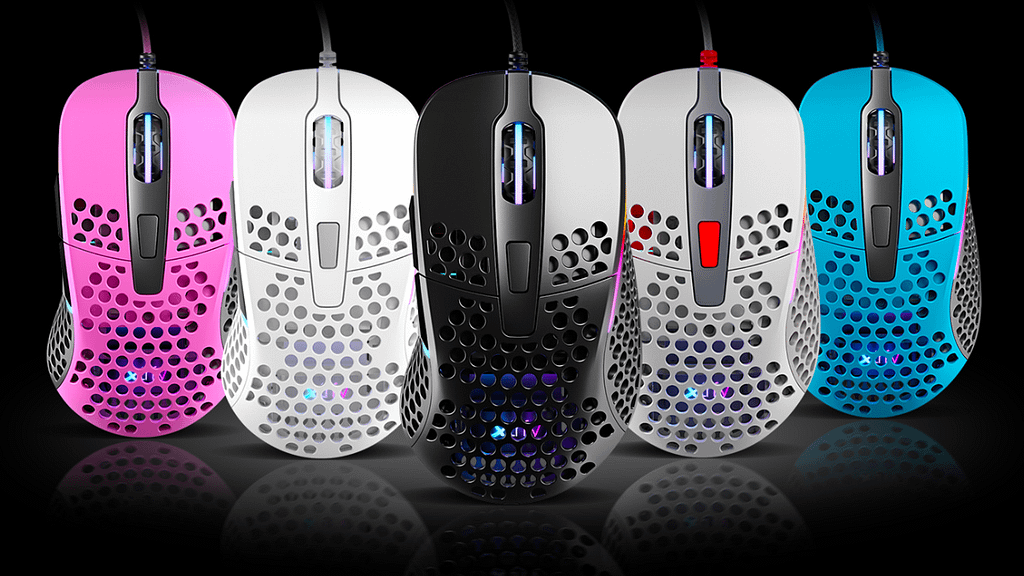 Extreme gaming performance from different colored XTRFY M4 gaming mice shown vertically