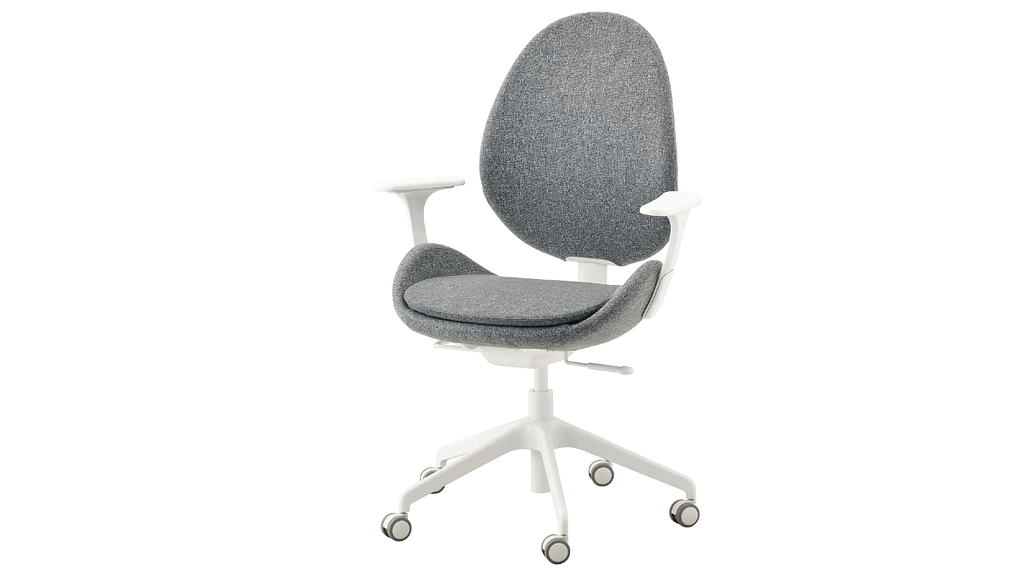 hattefjaell grey and white office chair with armrests on white background