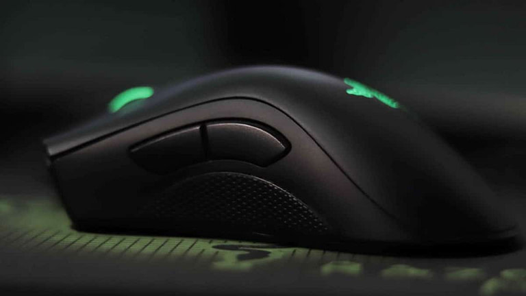A macro shot of the side of a Razer gaming mouse